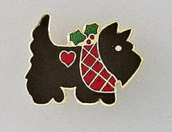 Cute Christmas Scottie Scottish Terrier Dog Enamel Pin Brooch
