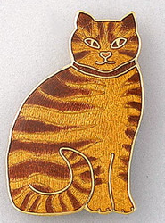 Orange Ginger Tabby Cat Kitten Large Enamel 22Kt Gold Plated Pin Brooch