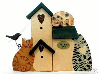 "Cute Cat Trio and Birdhouses 6.5"" 3-D Wood Stand Folk Art"