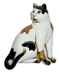 Calico Cat Kitten Pearlized Enamel and Austrian Crystal Pin Brooch