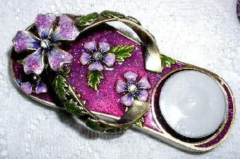 """Sandal Flip Flop Pink Purple Flower Enamel Pewter 5.5"""" Candle Holder"""