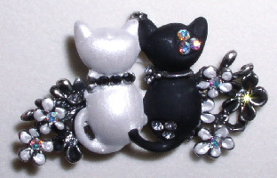 Enamel Crystal Black and White Cats Kitten with Flowers Pin