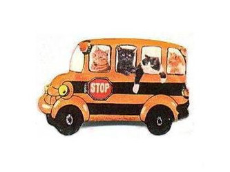 Hilarious Four Cat Passengers on School Bus Pin