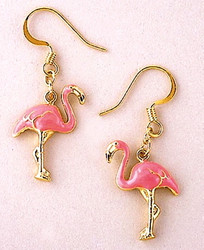 Pink Flamingo Bird Enamel and Gold 22ct Plated Dangle Earrings