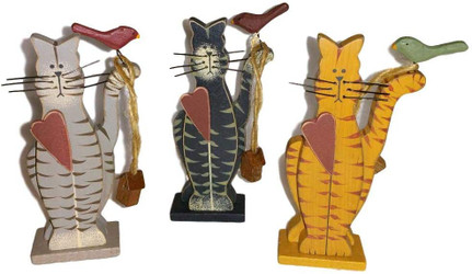 "Grey, Black & Orange Tabby Cat Trio with Heart & Bird 4.25"" Wood Folk Art Set of 3 Figurines"