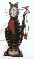"Black Cat Kitten with Red Heart 8"" Wood Figurine Folk Art"