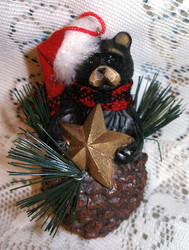 Northwood Bear and Gold Star Pinecone Christmas Ornament