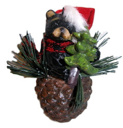 Northwood Bear and Evergreen Tree Pinecone Christmas Ornament
