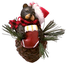Northwood Bear Red Stocking Pinecone Christmas Ornament