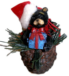 Northwood Bear with Blue Present Pinecone Christmas Ornament