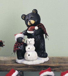 "Black Northwood Bear Mom & Baby Bear Cub w/ Snowman 7.5"" Resin Figurine"