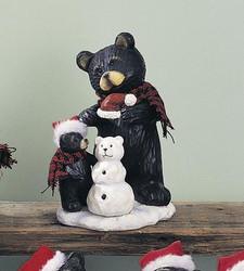 "Black Northwood Bear Mom & Baby Bear Cub w/ Snowman 7.5"" Resin Figurine"