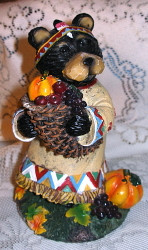 "Harvest Black Northwood Bear Girl Indian 6"" Resin Figurine 3"