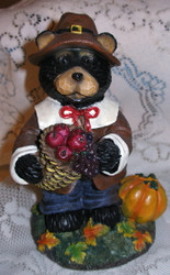 "Harvest Black Northwood Bear Boy Pilgram 6.5"" Resin Figurine 2"
