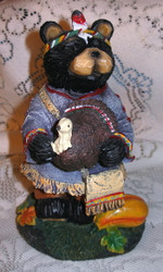 "Harvest Black Northwood Bear Boy Indian 6"" Resin Figurine 4"