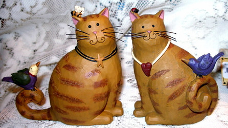 Sweet Orange Tabby Cats w/ Bees Birds Set of 2 Resin Figurines by Blossom Bucket