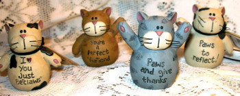 "Tabby Cat Black & White ""Paws & Claws"" S/4 Resin Figurines"