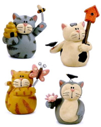 "Blossom Bucket ""Spring Kitties"" CAT Kitten Set of Four Resin Figurines"