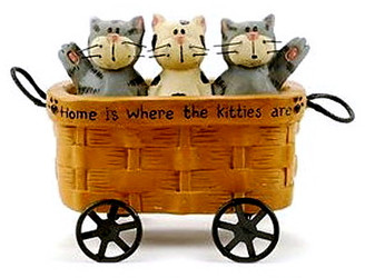 Cute Three Kittens in Rolling Wicker Basket Wagon Resin Figurine