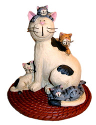 Black and White CAT Mama and FOUR Kittens Sitting on RUG Resin Figurine