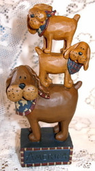 Blossom Bucket Funny Patriotic Stack of THREE Dogs w/ Bandanas Resin Figurine