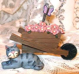 Tabby Cat & Wheelbarrow w/ Flowers & Butterfly Resin Figurine