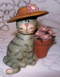 Sweet Grey Tabby Cat & Pink Daisy Flowers in Pot Resin Figurine