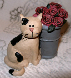 Black and White Kitty Cat with Pink Roses in Pot Resin Figurine
