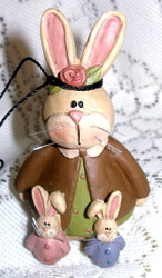 Bunny Rabbit Mom and Two Babies Resin Figurine by Blossom Bucket