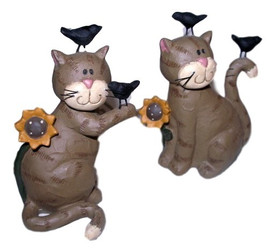 Grey Tabby Cat & Sunflowers with Blackbirds Set of Two Resin Figurines
