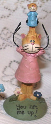 Kitty CAT in PINK Dress YOU Lift Me UP! Resin Figurine