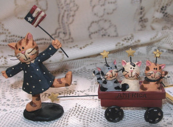 Patriotic Cat and Flag with Wagon of Three Kittens Resin Figurine