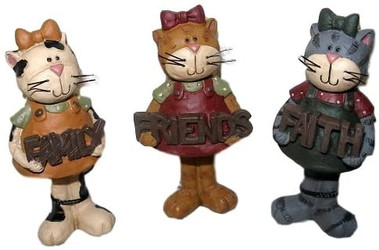 Sweet Girl Cat Family Faith Friends SET of Three Resin Figurines