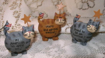 Patriotic Tabby Cats with Flags on Tails S/3 Resin Figurines