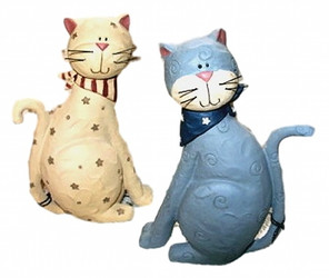 Patriotic Grey Tabby & Cream CAT w/ Stars & Bandanas Set of 2 Resin Figurine