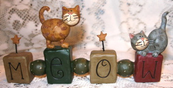 Two Tabby Cats on Meow Block with Beads Stars Resin Figurine