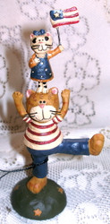 Patriotic Dad Cat & Playful Kittens Resin Figurine by Blossom Bucket
