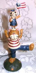 Patriotic Dad Cat & Playful Kittens Resin Figurine by Blossom Bucket