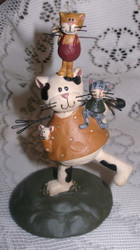 Playful Mom Cat and Kittens Resin Figurine by Blossom Bucket