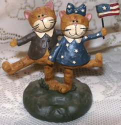Patriotic Kitty CAT Couple Holding FLAG Resin Figurine