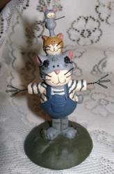 Playful Dad Cat and Kittens Resin Figurine by Blossom Bucket