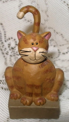 Orange Tabby Cat on Stand Resin Figurine by Blossom Bucket
