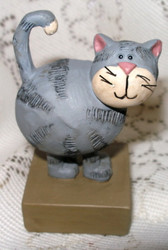 Grey Tabby Cat on Stand Resin Figurine by Blossom Bucket