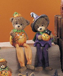 Halloween Brown Bear Holding Pumpkin with Black Cat Resin Shelf Sitter