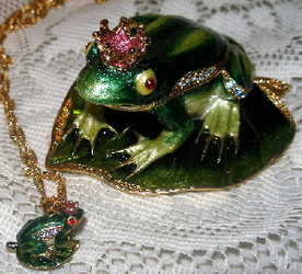 Bejeweled Frog Prince on Lilypad with Austrian Crystals Enamel Trinket Box & Matching Pendant
