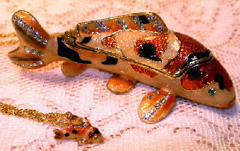 Bejeweled Koi Gold Fish Enamel Trinket Box with Austrian Crystals & Necklace