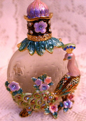 Bejeweled Peacock Bird and Flowers Austrian Crystal Enamel Perfume Bottle