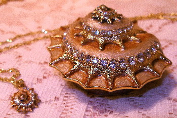 Bejeweled Sea Shell Enamel Trinket Box with Austrian Crystals and Matching Pendant