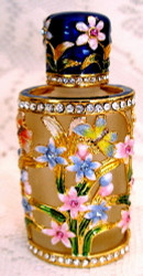 Bejeweled Enamel Butterfly and Flowers with Austrian Crystals Perfume Bottle