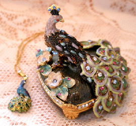 Bejeweled Peacock Bird Enamel Trinket Box with Austrian Crystals & Pendant